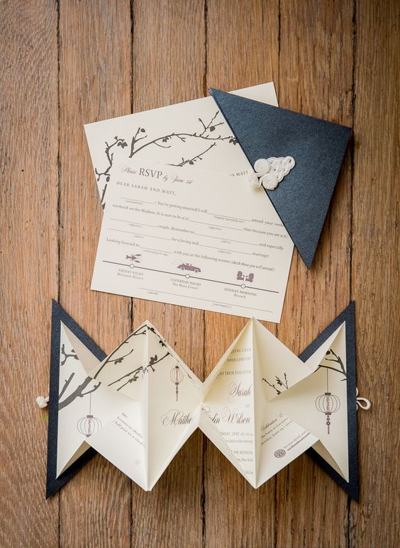 origami wedding invitations with cherry blossom and lanterns prints for a slight Japanese feel