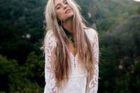 26 a short boho sleeve wedding dress with lace applique bell sleeves, a V-neckline on buttons