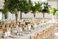 27 tall greenery centerpieces and matching greenery runners for a fresh spring look