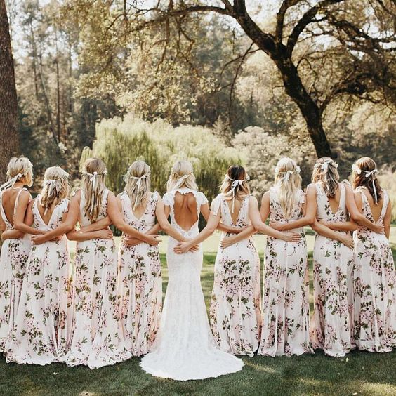 wide strap blush gowns with floral prints, open back and floral crowns