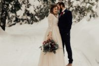01 This wedding shoot is inspired by a winter forest and features a moody color palette, which is a very trendy idea