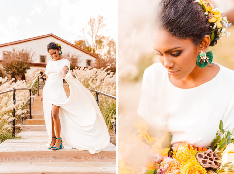 The bride was wearing a gorgeous short sleeve wedding dress with a front slit, statement earrings and fresh flowers in her hair
