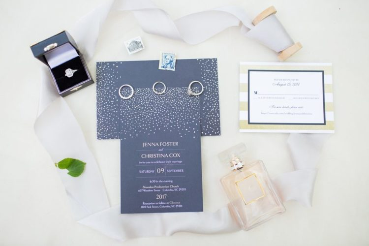 The wedding invitation suite was a sparkling one, with navy and copper details