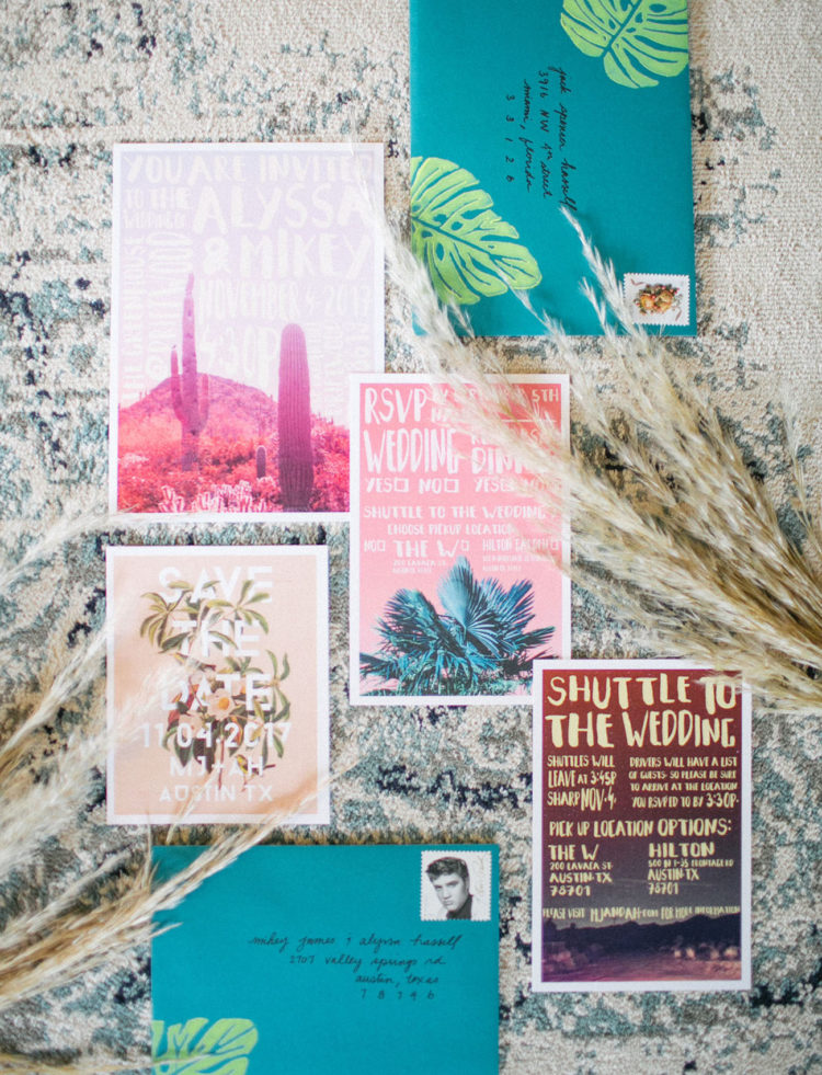 The wedding invitation suite was an artsy one, designed by the groom himself