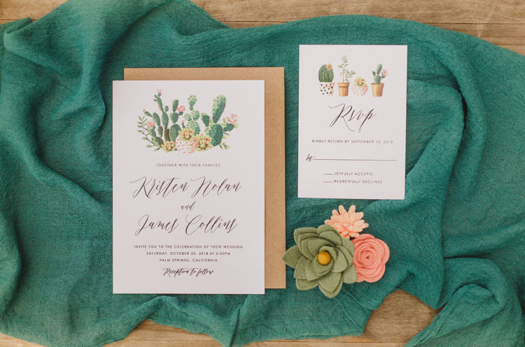 The wedding invitation suite was done with cacti and felt flowers