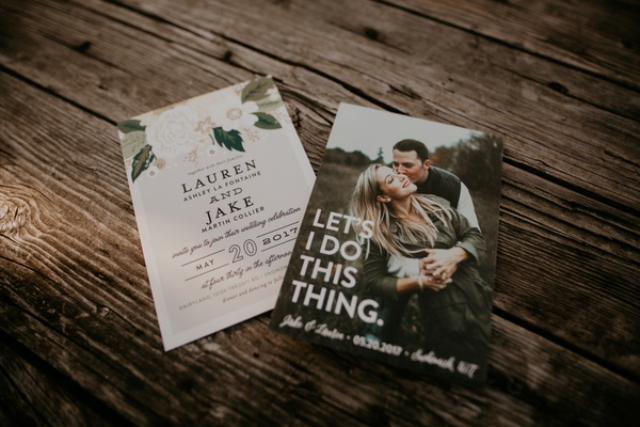 The wedding invitation suite was done with florals and personal engagement photos of the couple