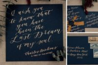 02 The wedding stationery is done in navy and with metallic calligraphy