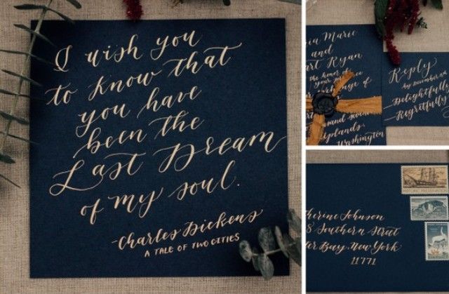 The wedding stationery is done in navy and with metallic calligraphy
