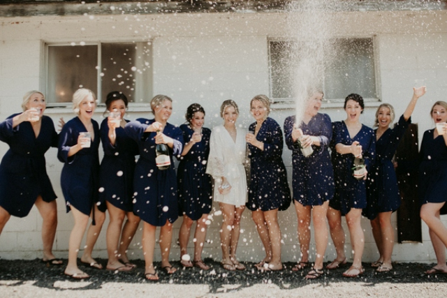 There was a large bridal party, which is a fun idea to gather all the gals