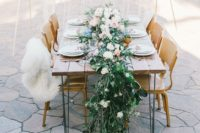 03 a fresh greenery and lush blooms table runner is enough, no centerpieces and tablecloths are needed