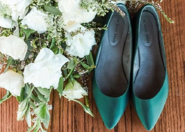 emerald flats will add a bold and bright touch to your bridal look