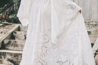 04 a creamy white embroidery boho maxi wedding dress with bell sleeves