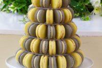 04 a macaron tower of lemon, pineapple, Earl Grey and black sesame macarons is a fresh take on a traditional wedding cake