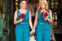 04 teal wide strap jumpsuits with metallic belts and bold bouquets for a touch of color
