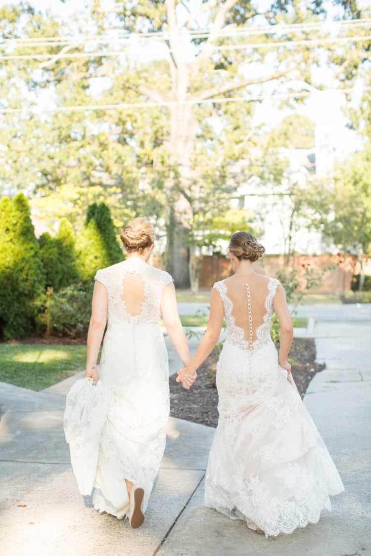 The second bride was rocking a sleeveless cap wedding dress with a cutout back