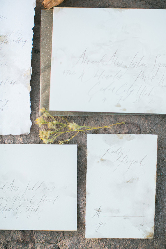 The wedding stationery was done with calligraphy and a raw edge to give it that boho feel