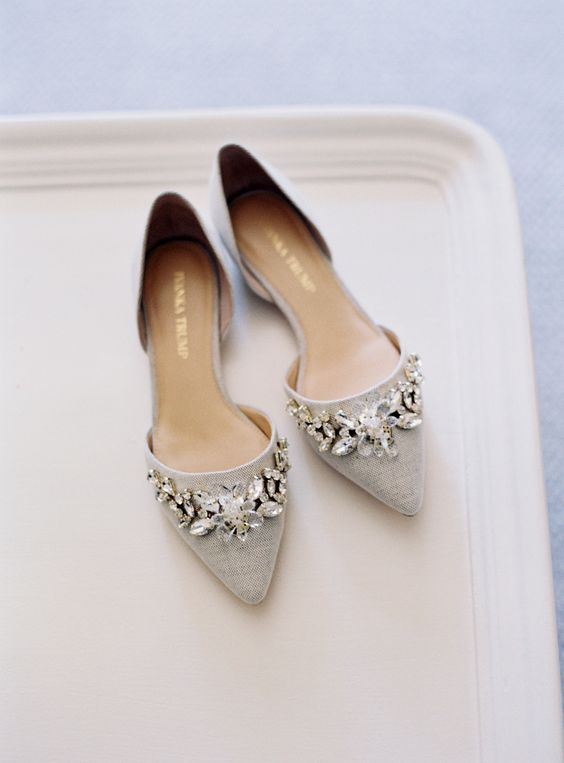 dove grey pointed toe jeweled flats to sparkle