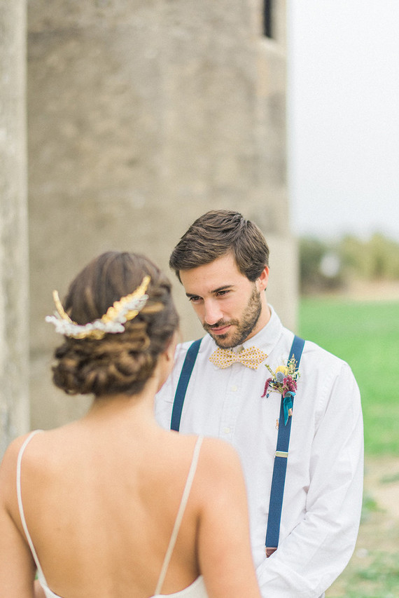 His custom-made printed bow tie and colorful suspenders made his outfit more special and personalized