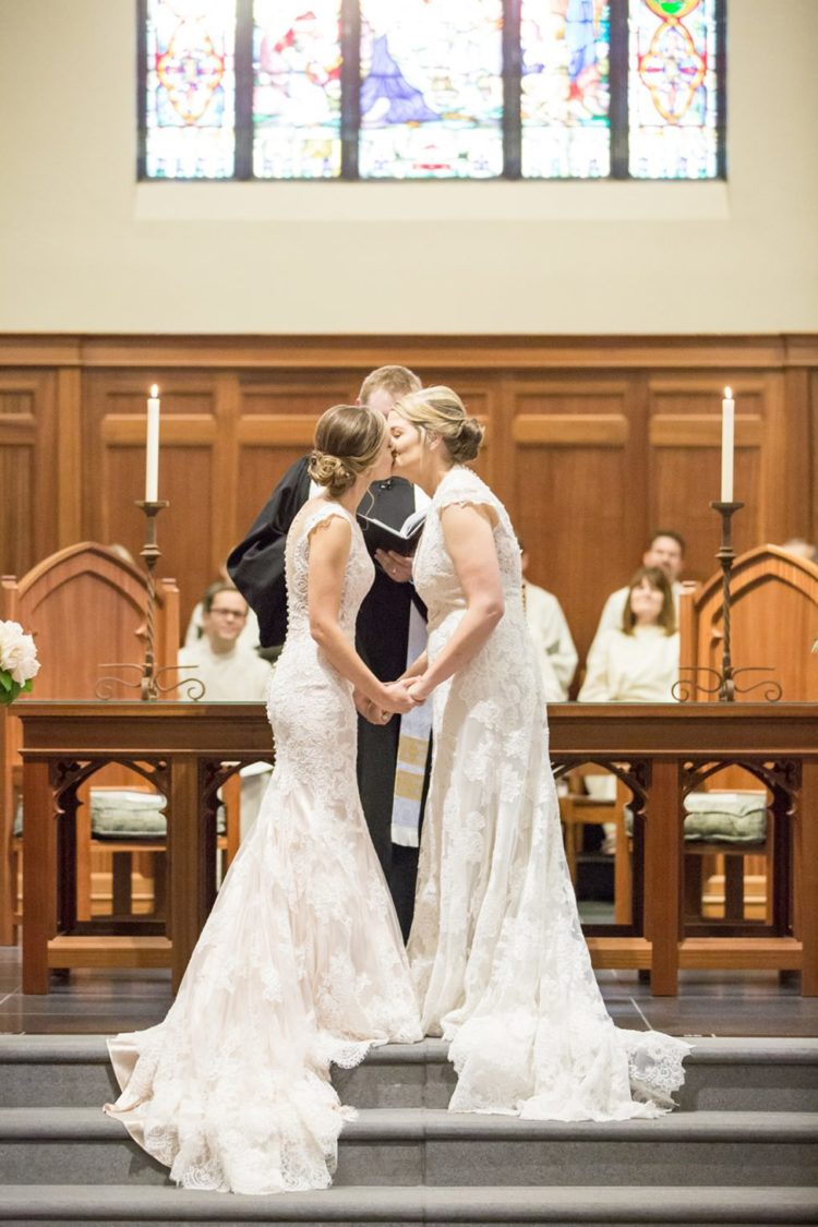 The ceremony took place in a church, just look at those beautiful dresses