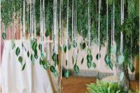 lush greenery hanging wedding decor