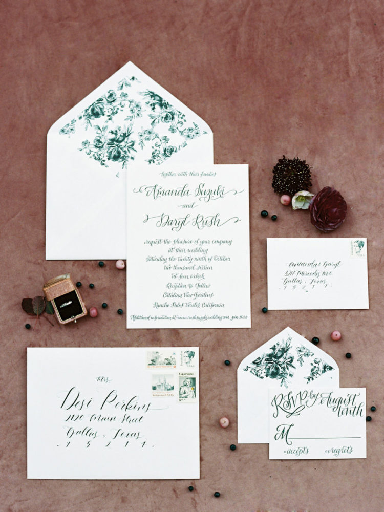 The wedding invitations were done in black and white with botanical prints