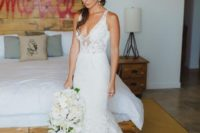 07 a stunning mermaid lace wedding gown with thick straps, a deep V-neckline, a train for a sexy boho look