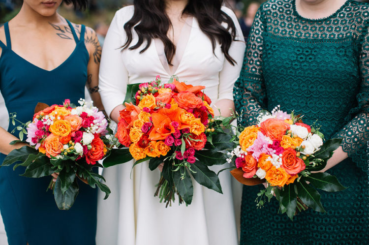 The bridesmiads were also wearing jewel tones - teal and emerald - for a bold look