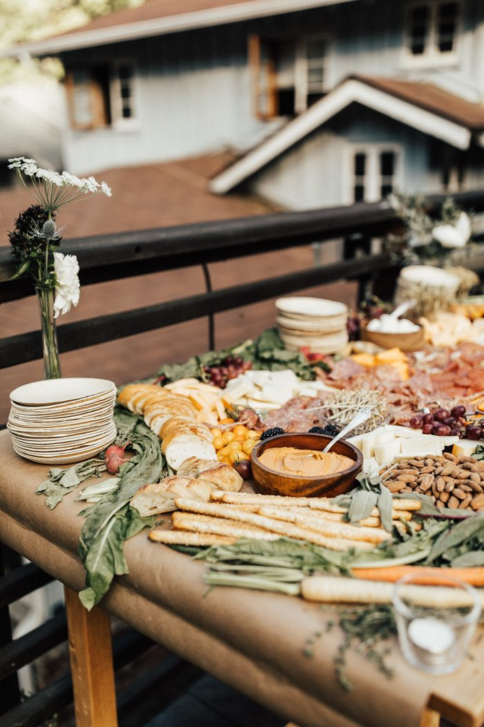 The couple ordered gorgeous cheese and charcuteria stations to feed everyone