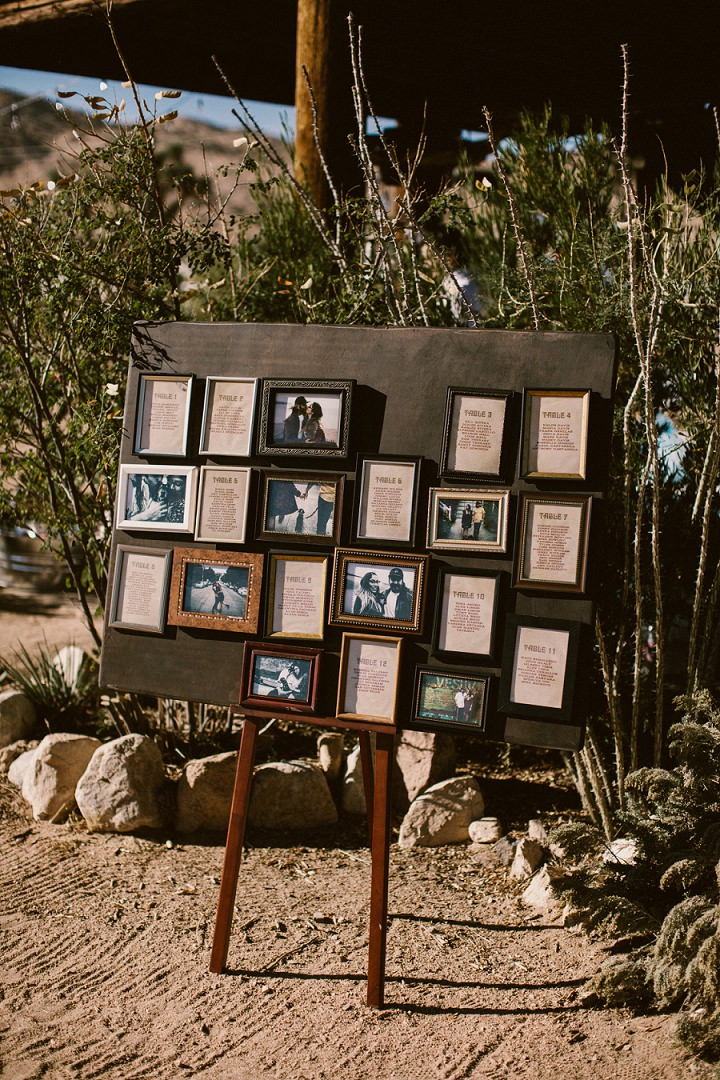 The seating chart was done with personal photos of the couple