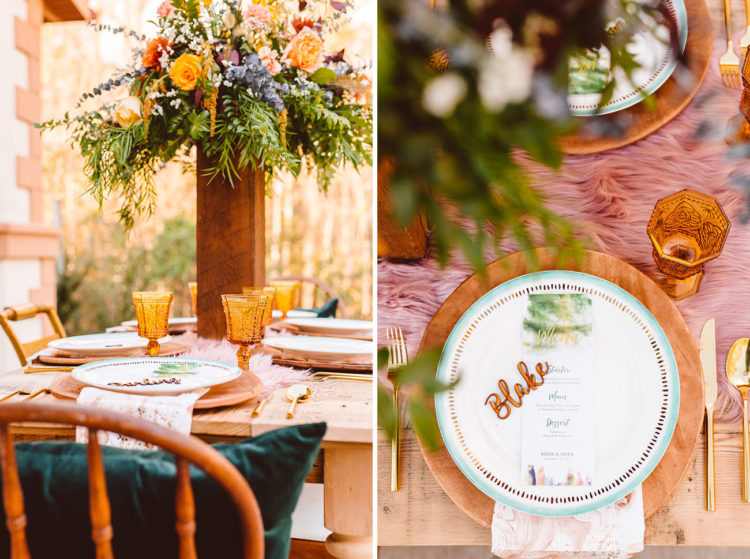 The tablescape was done with a tall floral centerpiece, amber glasses, gold flatware and printed napkins