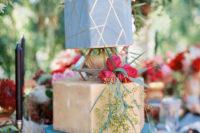 wedding cake with hexagon decor