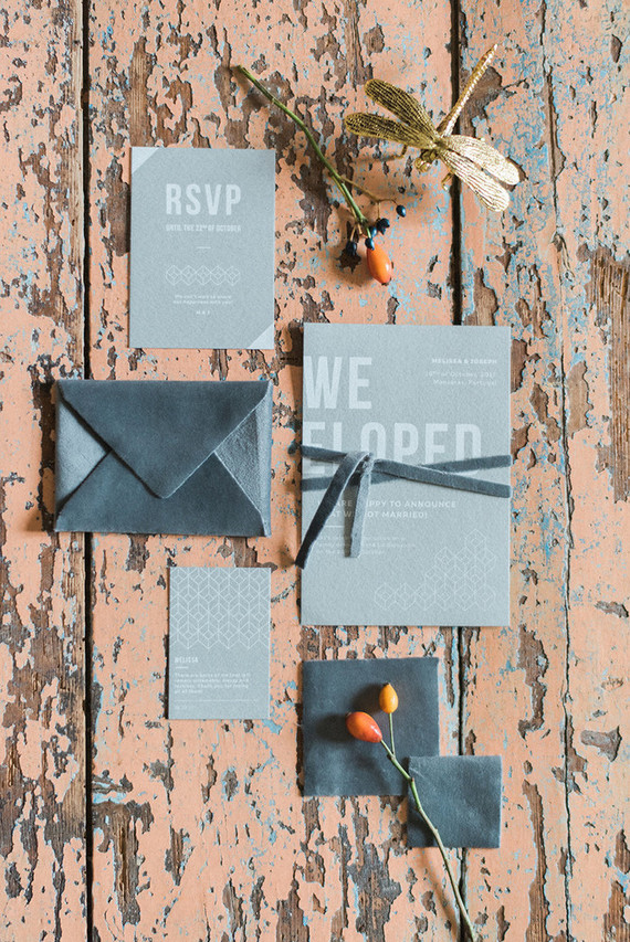 The wedding stationery was done in the shades of grey, with geometric prints