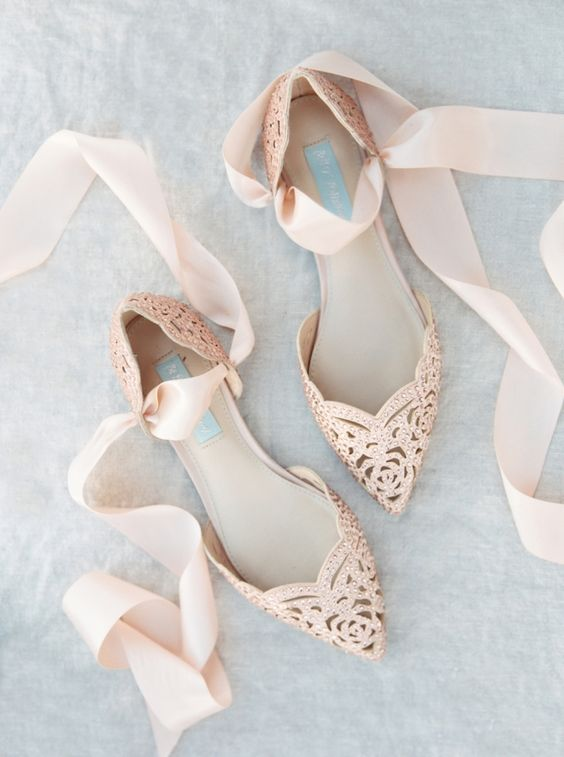 blush laser cut flats with beading and ribbons for a cuter look