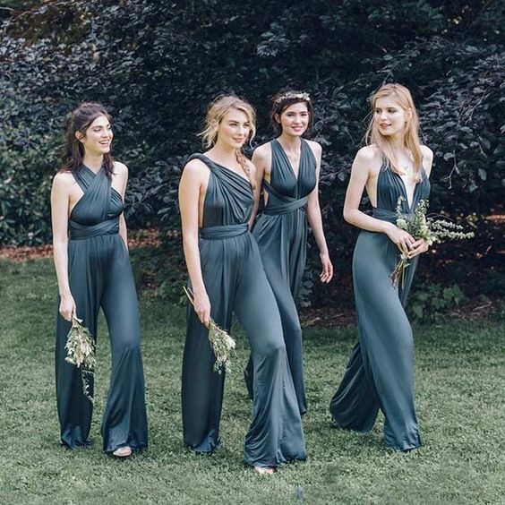 chic graphite grey convertible jumpsuits look very edgy and chic