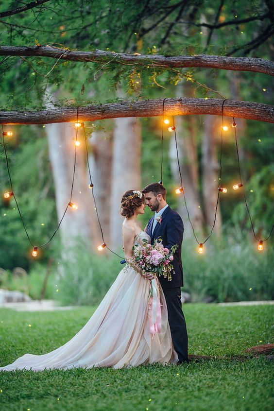 lights hanging on a branch for a magical ambience