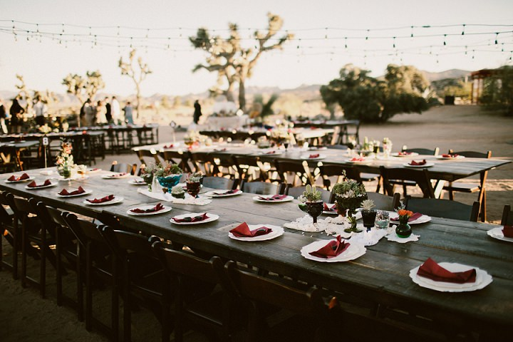 The wedding tablescapes were finished with colorful napkins and glasses
