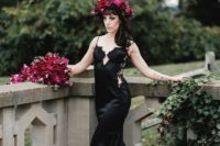 10 a sexy black mermaid silk wedding gown with lace inserts and an embellished bodice for a bold statement