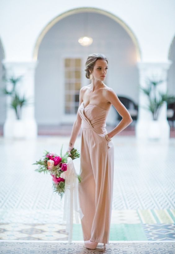 a strapless blush jumpsuit with a wrap bodice, wide pants and matching shoes looks very romantic
