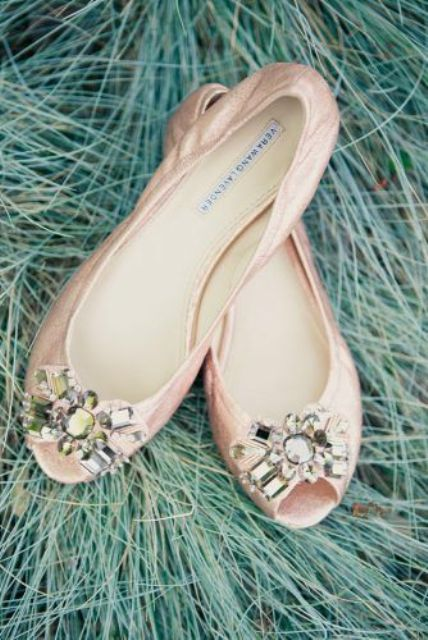 blush peep toe flats with embellishments for a gorgeous bridal look