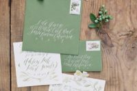 10 chic green and white wedding invitation suite with calligraphy and watercolro floral patterns