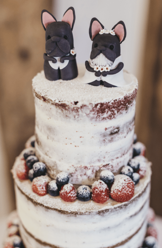 The wedding cake was a naked one with little bulldog pup cake toppers