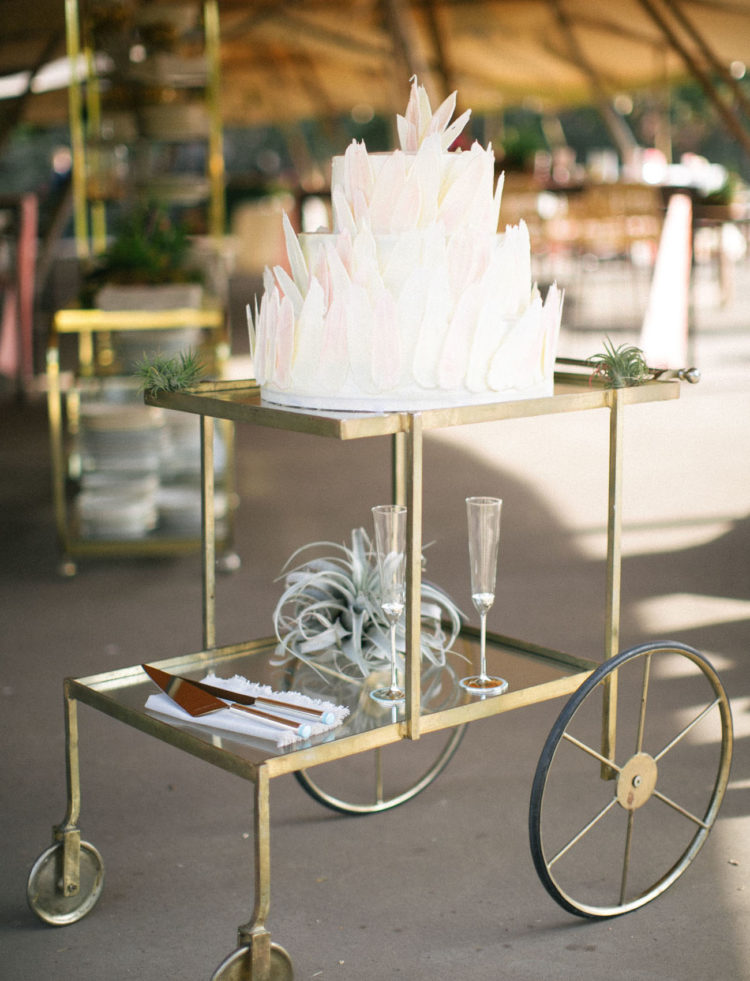 The wedding cake was a white one with sculptural petals and ombre touches