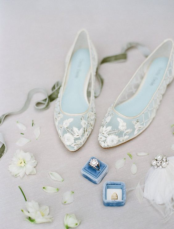 sheer lace applique embellished flats is a very romantic and delicate choice