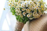 12 a rustic bridal bouquet of wildflowers and with a burlap wrap with pearl pins