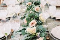 12 a stylish eucalyptus and blush roses table runner is classics that will never go out of style