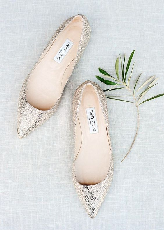 silver glitter Jimmy Choo flats are always a chic option and can be worn afterwards