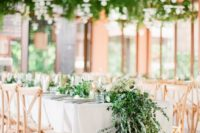hanging greenery and flowers always looks amazing