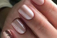 13 blush nails with rose gold accent ones are a very romantic and cute option