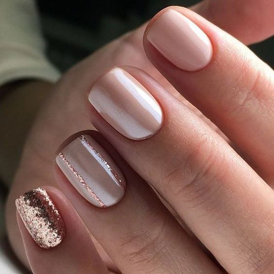 blush nails with rose gold accent ones are a very romantic and cute option