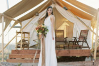 14 a flowy thick strap halter neckline wedding dress with a V-neckline, an airy skirt and a train for a boho wedding